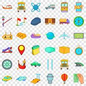 Slow Delivery Icons Set. Cartoon Style Of 36 Slow Delivery Vector Icons For Web For Any Design poster