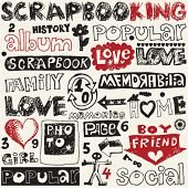 hand drawn scrapbooking elements, decorative doodle set
