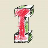 crayon alphabet, hand drawn letter I