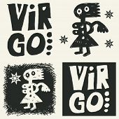 naive abstract horoscope, hand drawn sign of the zodiac virgo