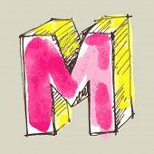 childlike gouache alphabet, hand drawn letter M