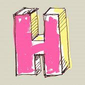 childlike gouache alphabet, hand drawn letter H