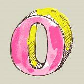 childlike gouache alphabet, hand drawn letter O