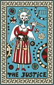 hand drawn tarot deck, major arcana, the raster version, the justice