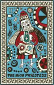 hand drawn tarot deck, major arcana, the raster version, the high priestess