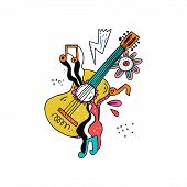 Guitar Doodle Illustration. Hippie Music Sketch. Rock N Roll Hand Drawn Emblem. Musical Instrument,  poster