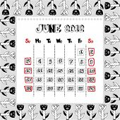 doodle calendar for year 2012, June
