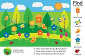 Activity Page, Spring Picture In Cartoon Style, Find Images And Answer The Questions, Visual Educati poster