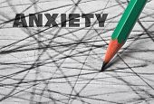 Pencil And Word Anxiety Written On Scribbled Paper poster