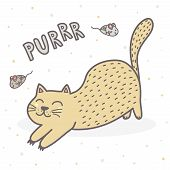 Cute Purring Cat Print. Funny Card For Children. Vector Illustration poster