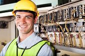 foto of hard_hat  - portrait of male caucasian industrial technician - JPG