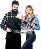 Better Grilling Is Grilling Together. Couple Of Cooks Using Barbecue Set. Couple In Love Having Barb poster