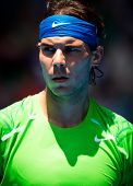 MELBOURNE - JANUARY 18:Rafael Nadal of Spain in his second round win over Tommy Haas of Germany at t