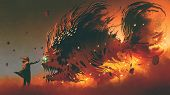 Wizard Summoning Giant Fish Creature With Fire Magic, Digital Art Style, Illustration Painting poster