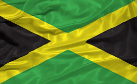 foto of jamaican flag  - illustration of waving Jamaican flag close up - JPG