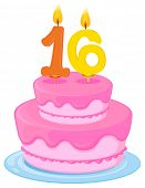Image of illustration of a birthday cake on a white background.