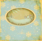 Vintage Christmas and New Year Greeting Card, with a window cutout and scenic winter inset. Village,