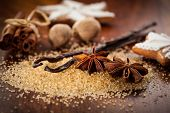 picture of christmas spices  - Baking ingredients and spices for Christmas cookies - JPG