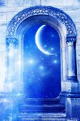 a mystical gate with stars and a planet - the planet of this images is furnished by NASA