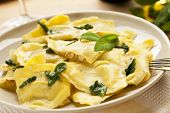 image of porcini  - Ravioli Trifolati pasta filled with truffles and porcini - JPG