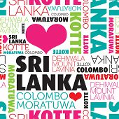 I love Sri Lanka cities Kotte Colombo seamless typography background pattern in vector