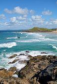 St. Ives Porthmeor beach waves in Cornwall, UK.