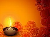 Lâmpada de óleo iluminado no fundo decorativo floral bonito para a celebração do festival de Diwali em