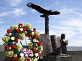 W. ORANGE, NJ-SEPT 11: Wreaths and sculptures in Eagle Rock Reservation that commemorates the location where hundreds viewed the 911 WTC tragedy in 2001 on September 11, 2012 in West Orange, NJ.