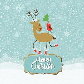 Christmas and New Year Greeting card, cute Deer and little Bird