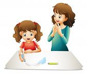 illustration of mom and her kid on a white background