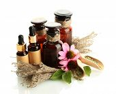 stock photo of mixture  - medicine bottles with purple echinacea  - JPG