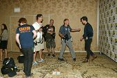 SAN DIEGO, CA - JULY 15: Members of the press chat with Matt Smith as he arrives at the 2012 Comic C