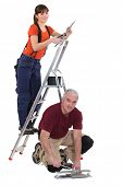 A team of tradespeople at work