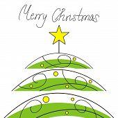 stock photo of merry christmas text  - Abstract christmas tree and handwritten text  - JPG