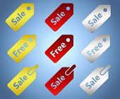 Set of sale and free tags