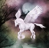 picture of winged-horse  - A white winged horse crosses  the river beneath the night moon - JPG