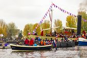 Amsterdam, Netherlands - November 18: Santa Claus Arrives In Holland By Boat On November 18, 2012 In
