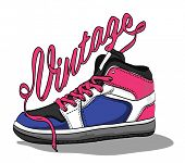 Hand drawn retro vintage shoes. Vector illustration.