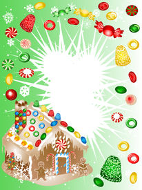 image of gingerbread house  - This wonderful food background is good for creative designs - JPG