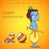 image of lord krishna  - illustration of Lord Krishana in Janmashtami - JPG