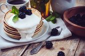 Homemade Pancakes With Blackberries