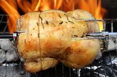 rotisserie chicken on the grill