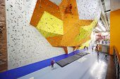 MOSCOW - DEC 5: Several people involved in climbing in a climbing gym Bigwall on Savelovskaya on Dec