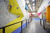 MOSCOW - DEC 5: Men involved in climbing in a climbing gym Bigwall on Savelovskaya on December 5, 20