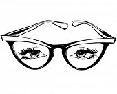 Cat Eye Glasses - Retro Clip Art Illustration