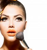 stock photo of face-powder  - Beauty Girl with Makeup Brush - JPG