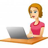 Girl Table Laptop