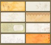 Set of retro labels, old paper textures in vintage style with free place for your text.