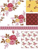 Rose Floral Vector Patterns.  Use as pattern fills to create stunning items for art and craft projects.