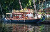 picture of alleppey  - Boat in backwaters in alappuzha Kerala India - JPG
